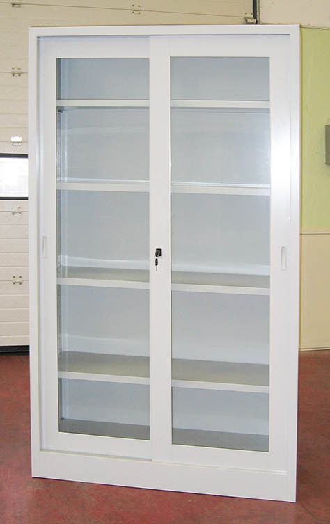 Produzione vendita armadi metallici con ante vetro o for Armadio con ripiani