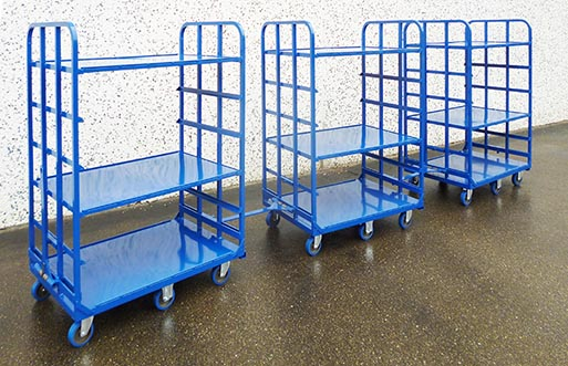 Produzione vendita carrelli vagoncino con gancio traino controsterzanti per logistica di magazzino